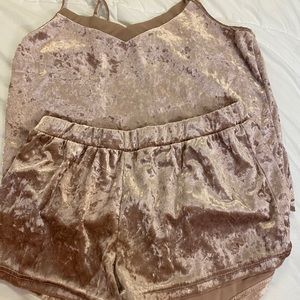 2pc forever 21 pink crushed velvet pajama set